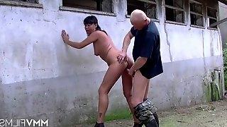 Slut on the farm fucked hardcore from behind