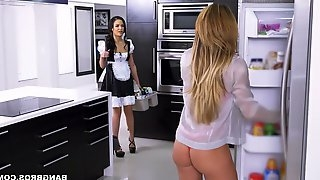 Provocative threesome scene featuring seductive milf Nina Dolce
