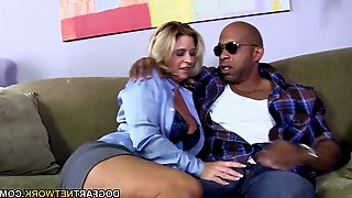 Black stud gets his monster cock swallowed by an blonde mature and brunette babe