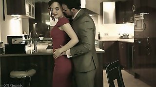 Sensual babe in red dress Lola Gatsby is fucked right in the kitchen