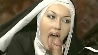 Naughty nun spices her boring days with sex pleasures