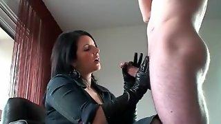 Leather Gloves Handjob Pt 2