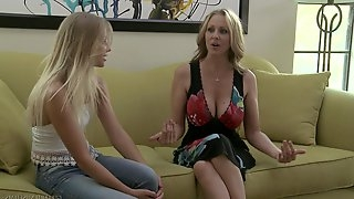 Busty mature satisfies a younger blonde - Julia Ann and Staci Karr
