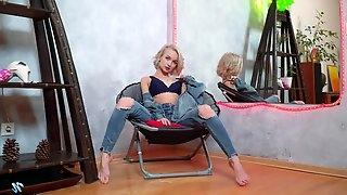 Sizzling blond teen Monica Gold is finger fucking wet punani