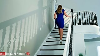 Fake tits pornstar Britney Amber fucked on the stairs in HD