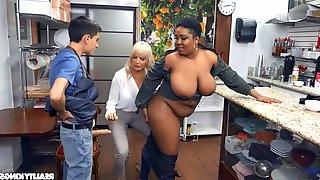 Mature slut Dana Dearmond shares a young man with ebony babe Layton
