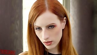 Red haired babe, Alex Harper is sucking a big, black meat stick like a pro