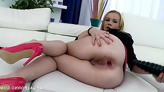 Smashing blonde babe, Rebecca Sharon is drilling her ass with a black dildo, before getting fucked