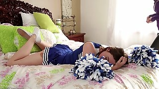 A stunning MILF seduces a hot, horny cheerleader and works her pussy